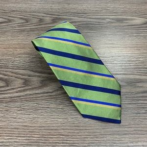 Jos A Bank Green, Blue & Gold Stripe Silk Tie